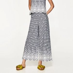 Zara Embroidered Gingham Pants